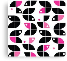 modern graphic design,fun colors,pink,black,white,retro,70's,style,patterntrendy,girly,cute,fun,happy Canvas Print