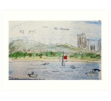beach scene (looking west from the Spit)  Art Print