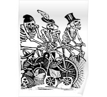 Calavera Cyclists | Black & White Poster