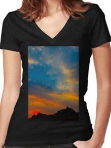 Sunset over Badlands National Park .7 Women's Fitted V-Neck T-Shirt