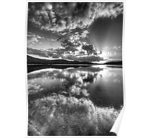 Black & White Reflections - Narrabeen Lakes, Sydney Australia - The HDR Experience Poster