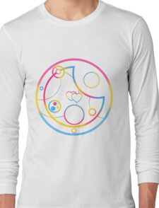 Pansexual in Circular Gallifreyan (w/ hearts) Long Sleeve T-Shirt