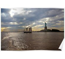 Statue of Liberty With boat in water Poster
