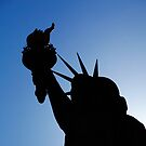 Silhouette of top of Statue of Liberty by Chris  Brookes