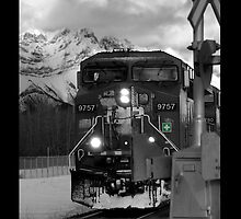 Snowy Engine Through the Rockies iPhone case by Lisa Knechtel