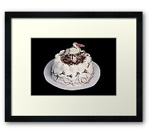 White cake on the black background. Framed Print