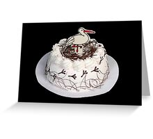 White cake on the black background. Greeting Card