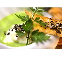 Green Peas 4 Soup With Spicy Pastry and Nigella Sativa Photographic Print