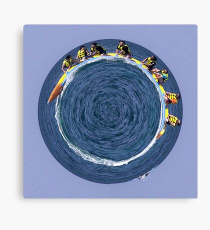 banana boating in a small blue world Canvas Print
