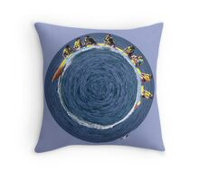 banana boating in a small blue world Throw Pillow