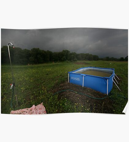 Swimming pool in the meadow. Poster