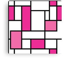 square,modern graphic design,fun colors,pink,black,white,retro,70's,style,patterntrendy,girly,cute,fun,happy Canvas Print