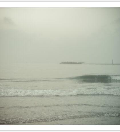Morning Fog at Wrightsville Beach Jetty Sticker