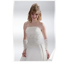 Beautiful bride in white dress 1 Poster