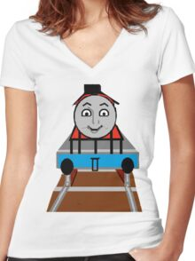 Toddlers Cartoon Lyle the Toy Train Engine Tshirt Women's Fitted V-Neck T-Shirt