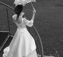 Bride with umbrella. BW. by fotorobs