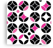 circles,modern graphic design,fun colors,pink,black,white,retro,70's,style,pattern,trendy,girly,cute,fun,happy Canvas Print