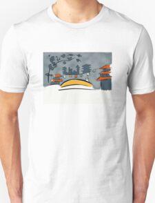Tranquil man on golden bridge T-Shirt