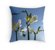 """Happy Birthday, Morning Sky""  The Flower of the White Freesia Throw Pillow"