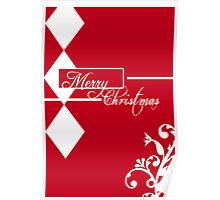 Red & White Christmas Card Poster