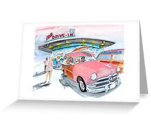 Mel's Diner - 1950 Ford - in the pink Greeting Card