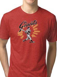 San Francisco Giants Schedule Art from 1958 Tri-blend T-Shirt