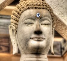 Stone Buddha - At Miami's Buddhist Temple by Bill Wetmore