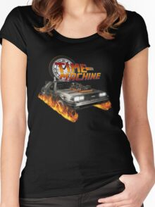 Time Machine Classic Car Delorean Women's Fitted Scoop T-Shirt