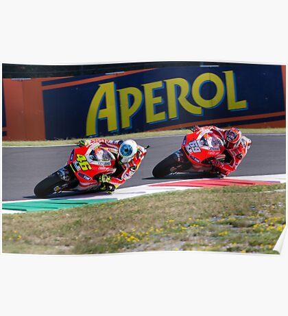 Valentino Rossi & Nicky Hayden in Mugello 2011 Poster