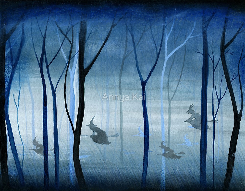 Witches Flying Low Through the Forest by Annya Kai
