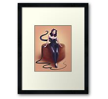 Cat woman pin up Framed Print