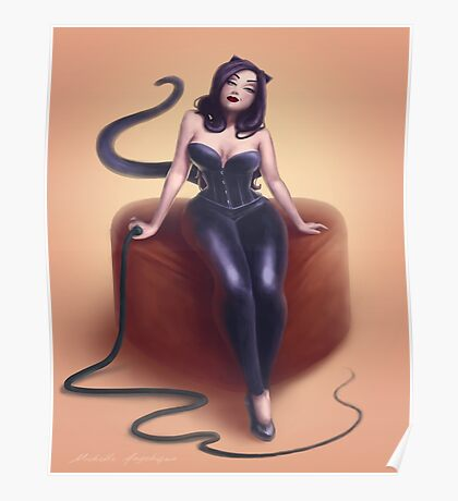 Cat woman pin up Poster