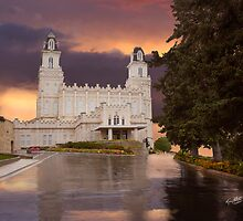 Manti Temple Sunset Reflection 20x30 by Ken Fortie