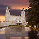 Manti Temple Sunset Reflection 20x24 by Ken Fortie