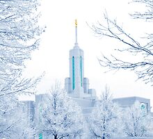 Mt. Timpanogos Temple Frosted Trees 20x30 by Ken Fortie