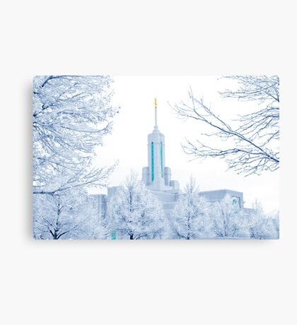 Mt. Timpanogos Temple Frosted Trees 20x30 Canvas Print