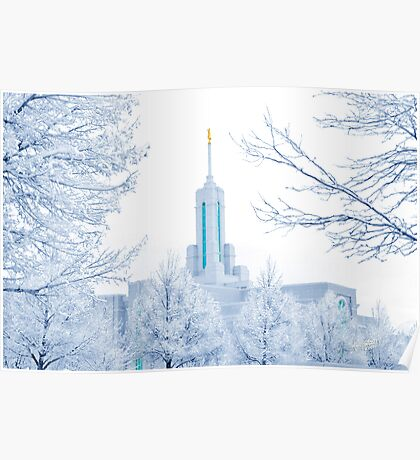 Mt. Timpanogos Temple Frosted Trees 20x30 Poster