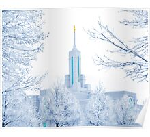 Mt. Timpanogos Temple Frosted Trees 20x24 Poster