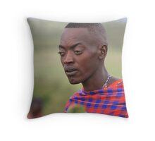 Maasai Warrior with Tribal Markings Throw Pillow
