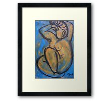 Lady in Blue - Nudes Gallery Framed Print