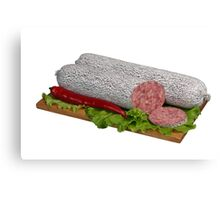 Salami on wooden board. Canvas Print