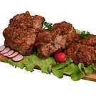 Smoked chicken kebab on wooden board. by fotorobs