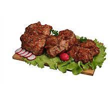 Smoked chicken kebab on wooden board. Photographic Print