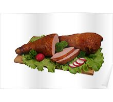 Smoked chicken on wooden board. Poster