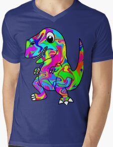Colorful Dinosaur Mens V-Neck T-Shirt