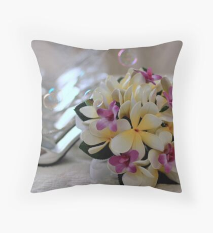 Franjapani's & a touch of Silver Throw Pillow