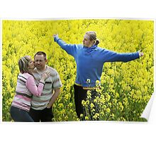 Three people in meadow Poster
