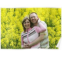 Couple in flower meadow Poster