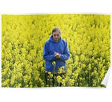 Man in flower meadow Poster