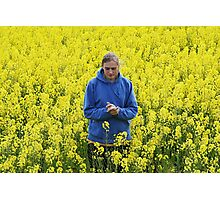 Man in flower meadow Photographic Print